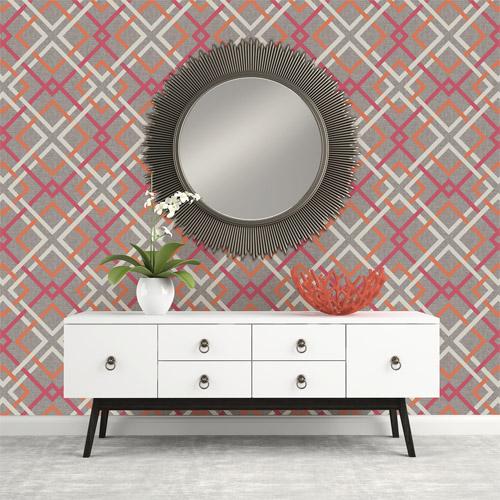 Brewster Wallcoverings Geometrie Saltire Lattice Wallpaper Roomset