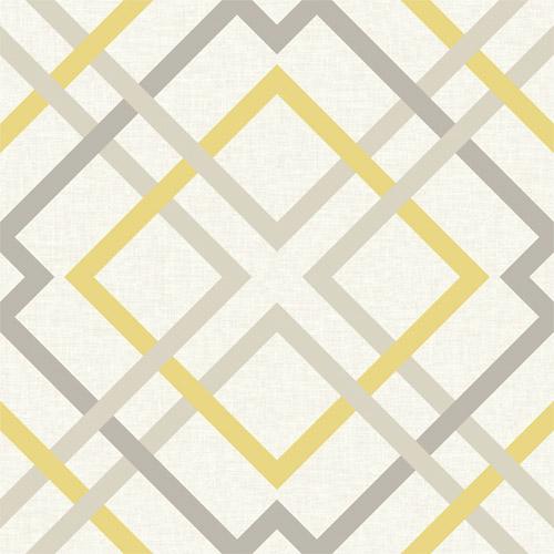 2697-22652 Brewster Wallcoverings Geometrie Saltire Lattice Wallpaper Yellow