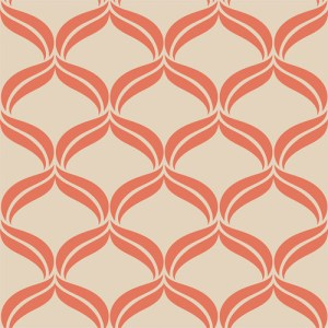 2697-22654 Brewster Wallcoverings Geometrie Petals Ogee Wallpaper Orange