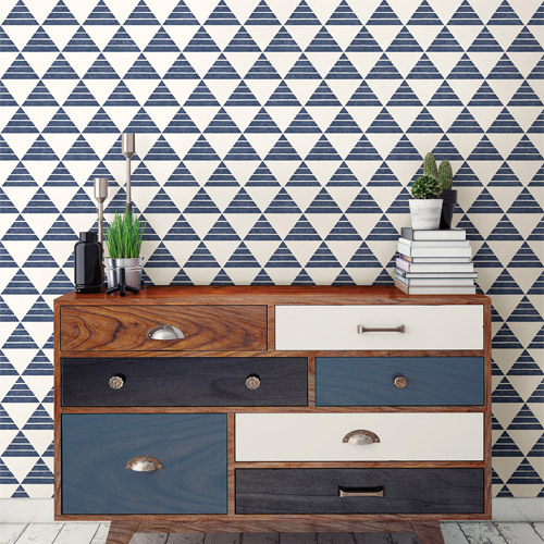 Brewster Wallcoverings Geometrie Summit Triangle Wallpaper Roomset