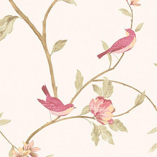 CG28803 Patton Wallcoverings Rose Garden 2 Spring Floral Wallpaper Raspberry