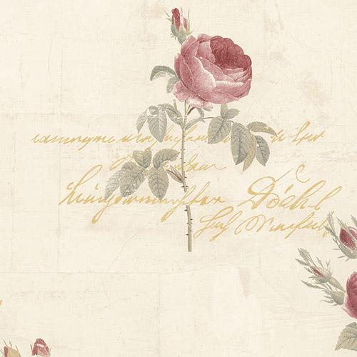 CG28860 Patton Wallcoverings Rose Garden 2 Rose Script Wallpaper Beige