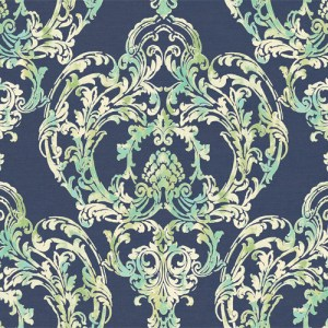 LG90712 Seabrook Wallcoverings Lugano Roxen Damask Wallpaper Indigo