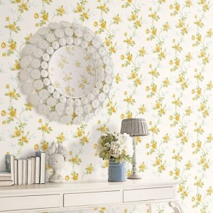 Patton Wallcoverings Rose Garden 2 Floral Trail Wallpaper Roomset