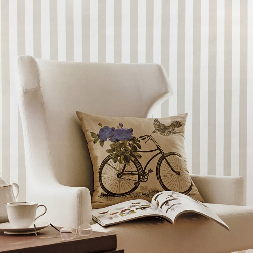 Patton Wallcoverings Rose Garden 2 Classic Stripe Wallpaper Roomset