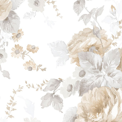 RG35723 Patton Wallcoverings Rose Garden 2 Cabbage Rose Wallpaper Beige
