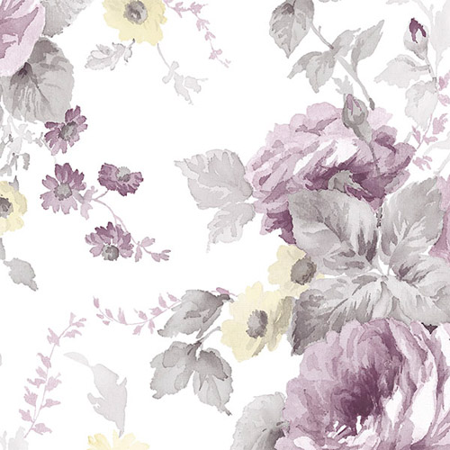 RG35725 Patton Wallcoverings Rose Garden 2 Cabbage Rose Wallpaper Purple