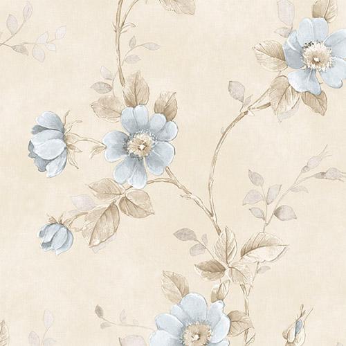 RG35732 Patton Wallcoverings Rose Garden 2 Floral Trail Wallpaper Blue