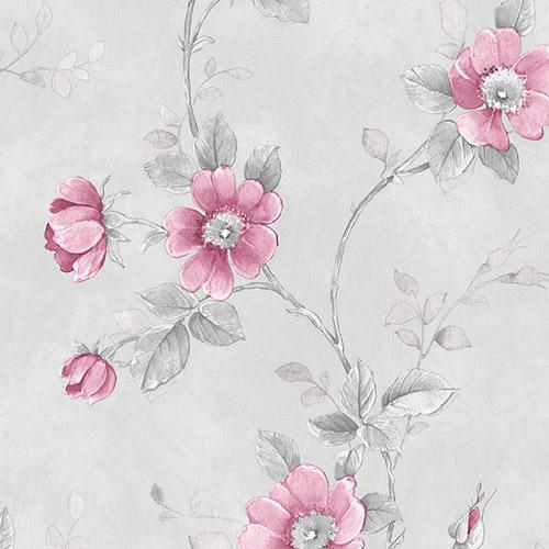 RG35733 Patton Wallcoverings Rose Garden 2 Floral Trail Wallpaper Grey
