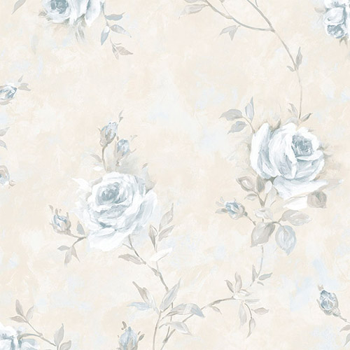 RG35737 Patton Wallcoverings Rose Garden 2 Rose Vine Wallpaper Blue