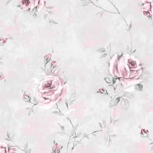 RG35738 Patton Wallcoverings Rose Garden 2 Rose Vine Wallpaper Grey