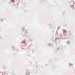 RG35738 Patton Wallcoverings Rose Garden 2 Rose Vine Wallpaper Grey