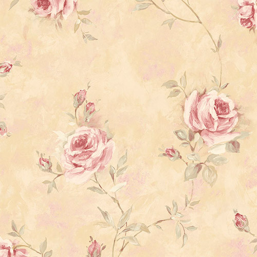 RG35739 Patton Wallcoverings Rose Garden 2 Rose Vine Wallpaper Cream