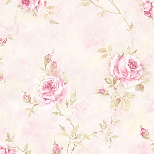RG35741 Patton Wallcoverings Rose Garden 2 Rose Vine Wallpaper Pink