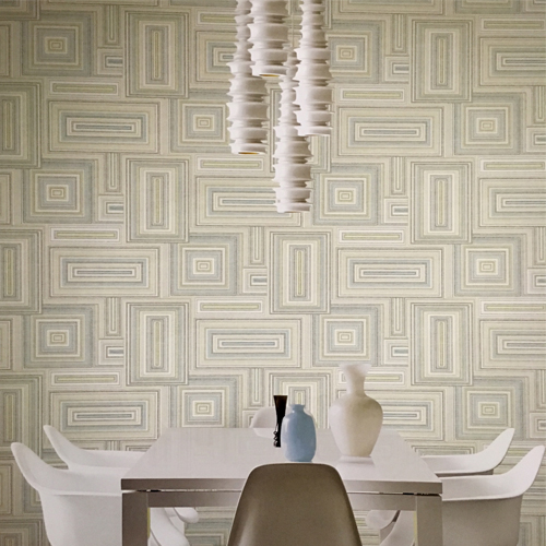 Seabrook Wallcoverings Lugano Attersee Squares Wallpaper Roomset