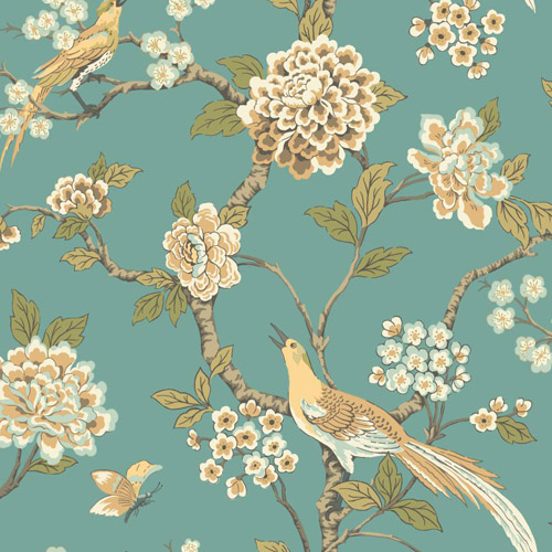 AF1901 York Wallcoverings Ashford Toiles Fanciful sure strip Wallpaper Turquoise