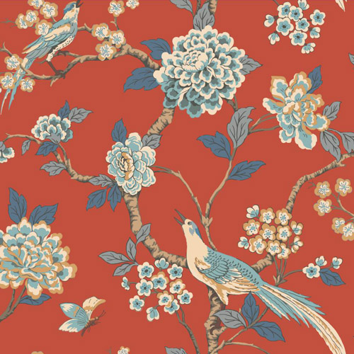 AF1902 York Wallcoverings Ashford Toiles Fanciful sure strip Wallpaper Red