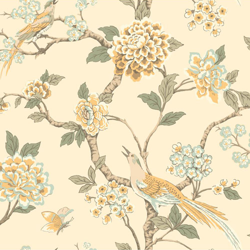 AF1904 York Wallcoverings Ashford Toiles Fanciful sure strip Wallpaper Yellow