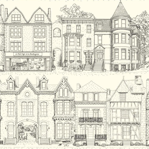 AF1907 York Wallcoverings Ashford Toiles Brownstone Terrace sure strip Wallpaper Black and White