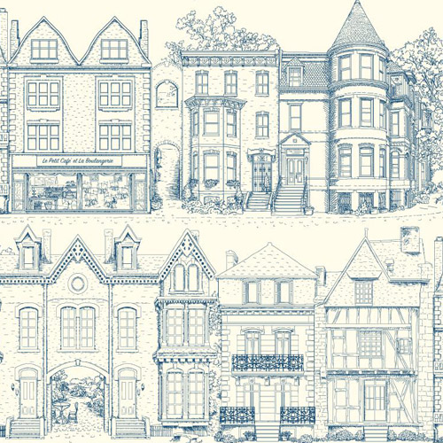 AF1908 York Wallcoverings Ashford Toiles Brownstone Terrace Wsure strip allpaper Blue and White