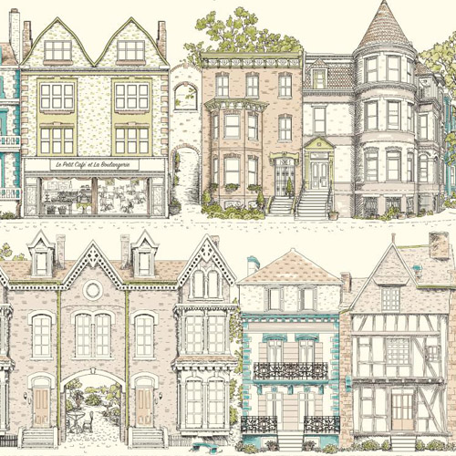 AF1909 York Wallcoverings Ashford Toiles Brownstone Terrace sure strip Wallpaper Grey