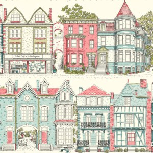 AF1910 York Wallcoverings Ashford Toiles Brownstone Terrace sure strip Wallpaper Aqua