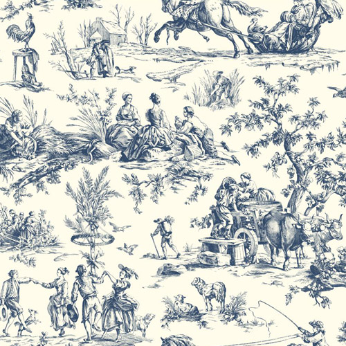 AF2000 York Wallcoverings Ashford Toiles Seasons Toile sure strip Wallpaper Blue