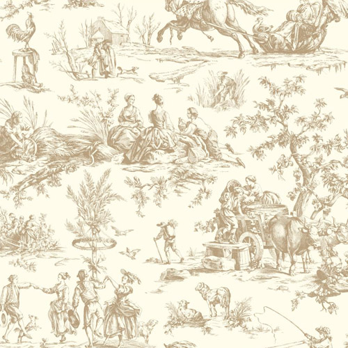 AF2003 York Wallcoverings Ashford Toiles Seasons Toile sure strip Wallpaper Taupe