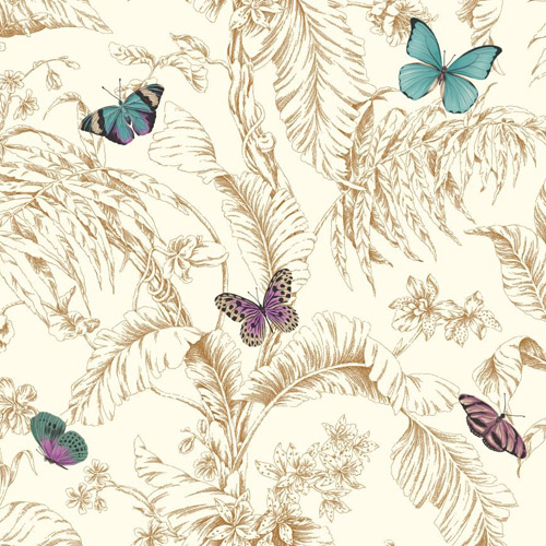 AF2028 York Wallcoverings Ashford Toiles Papillon sure strip Wallpaper Gold
