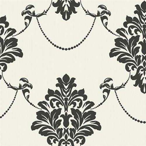 TR60320 Seabrook Wallcoverings Trois French Damask Wallpaper Onyx