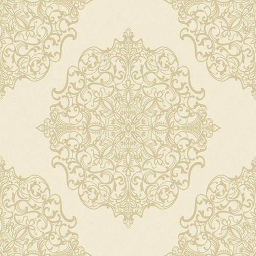 TR60503 Seabrook Wallcoverings Trois Mandala Wallpaper Cream