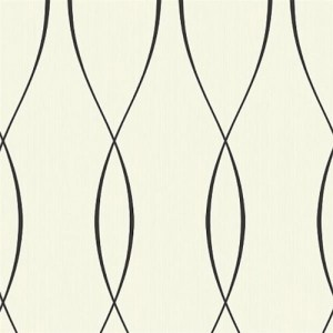 TR60710 Seabrook Wallcoverings Trois Wavelength Wallpaper Black and White