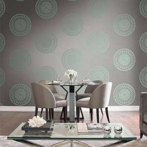 Seabrook Wallcoverings Trois Starburst Medallion Wallpaper Roomset