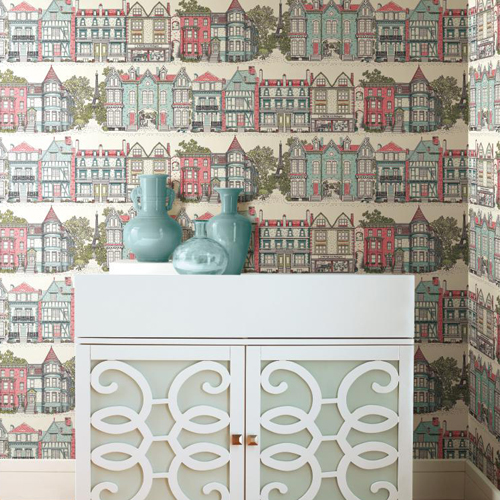 York Wallcoverings Ashford Toiles Brownstone Terrace sure strip Wallpaper Roomset