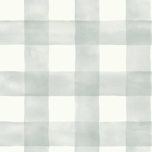 MH1519 York Wallcoverings Joanna Gaines Magnolia Home Watercolor Check Wallpaper Pale Blue