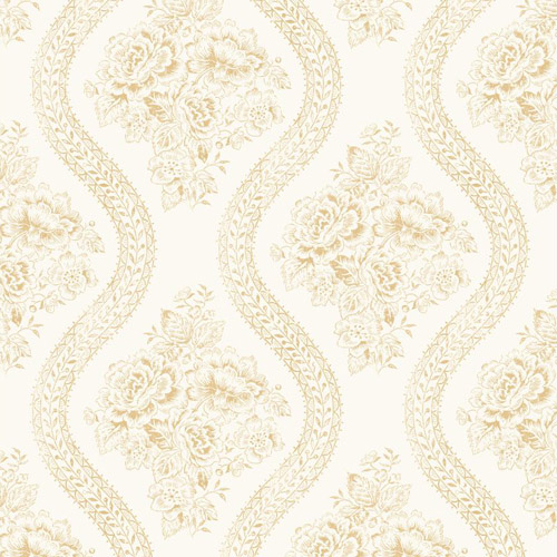 MH1602 York Wallcoverings Joann Gaines Magnolia Home Coverlet Floral Wallpaper Cream