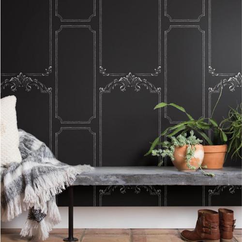 York Wallcoverings Joanna Gaines Magnolia Home Chalkboard Wallpaper Roomset