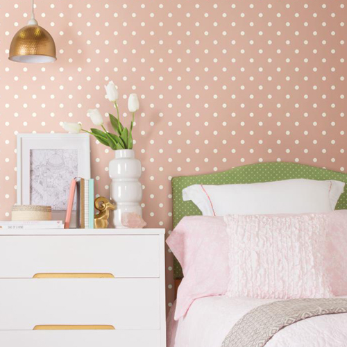 York Wallcoverings Joanna Gaines Magnolia Home Dots on Dots Wallpaper Roomset