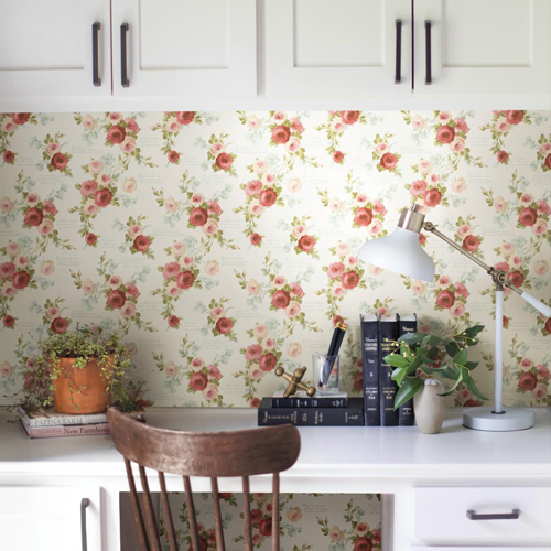 York Wallcoverings Joanna Gaines Magnolia Home Heirloom Rose Wallpaper Roomset