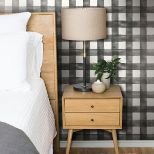 York Wallcoverings Joanna Gaines Magnolia Home Watercolor Check Wallpaper Roomset