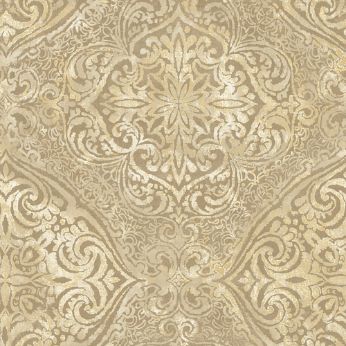 MK20605 Seabrook Wallcoverings Metallika Palladium Medallion Wallpaper Gold