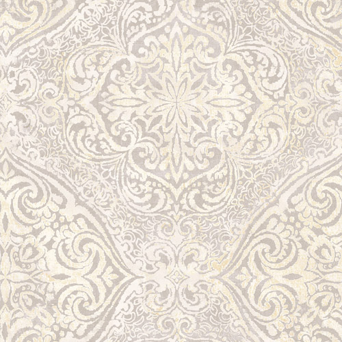 MK20608 Seabrook Wallcoverings Metallika Palladium Medallion Wallpaper Gray