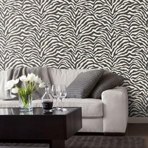 G67491 Patton Wallcoverings Natural FX Zebra Skin Wallpaper Roomset