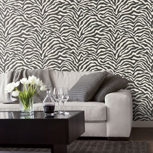 G67491 Patton Wallcoverings Natural FX Zebra Skin Wallpaper Roomset