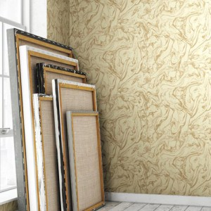RRD7201 York Wallcoverings Ronald Redding Industrial Interiors Modern Marble Wallpaper Roomset