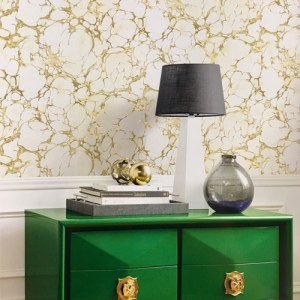 Seabrook Wallcoverings Metallika Patina Marble Wallpaper Roomset