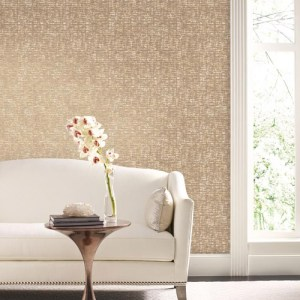 York Wallcoverings Antonina Vella Mixed Metals Barkcloth Wallpaper Roomset