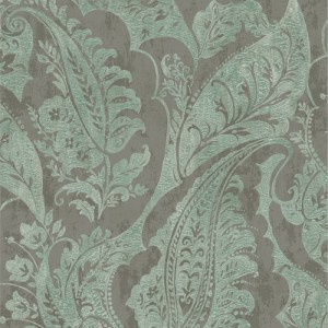 MK20004 Seabrook Wallcoverings Metallika Glisten Paisley Wallpaper Turquoise