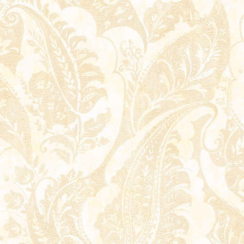 MK20005 Seabrook Wallcoverings Metallika Glisten Paisley Wallpaper Cream