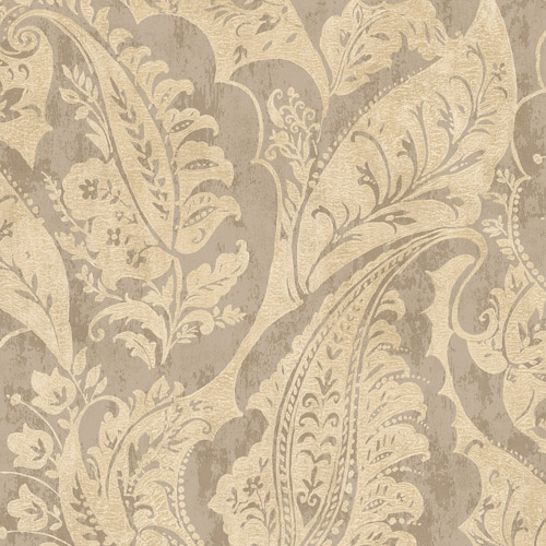 MK20007 Seabrook Wallcoverings Metallika Glisten Paisley Wallpaper Khaki